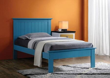 Prentiss Collection 25443FN Full Size Bed with Slat System Included  Beadboard Panel Headboard  Low Profile Footboard and Poplar Wood Construction in Blue
