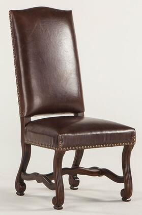 Isabella ZWIA77DL 21 inch  Dining Chair with Nail Head Trim  Cabriole Legs  Carved Stretchers and Leather Upholstery in Dark Brown Distressed