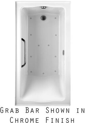 ABR782L#01YPN2 Clayton Series Drop-In Airbath Tub with Acryclic Construction  Slip-Resistant Surface  and Polished Nickel Grab Bar  White Finish  Two