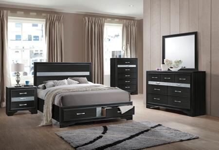 Naima Collection 25900QSET 5 PC Bedroom Set with Queen Size Bed + Dresser + Mirror + Chest + Nightstand in Black