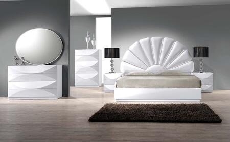 PARIS Series PARIS-KING-4SET PARIS King Bed  Night Stand  8 Drawer Dresser  Oval Shaped Mirror and 6 Drawer Chest in Gloss White