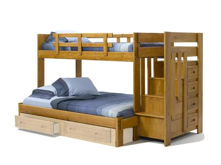 36154W Twin Over Full Bunk Bed with Stairway Chest