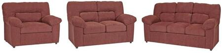 Duke U2071-SLC 3-Piece Living Room Set with Stationary Sofa  Loveseat and Chair in Red