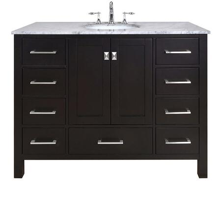Malibu GM-6412-48ES-CR 48 inch  Single Sink Vanity with 9 Drawers  Italian Carrara White Marble Countertop and Brushed Nickel Hardware in