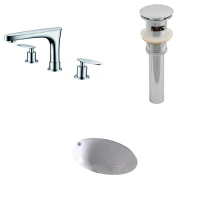 AI-13027 15.25-in. Width x 15.25-in. Diameter CUPC Round Undermount Sink Set In White With 8-in. o.c. CUPC Faucet And
