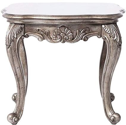 80541 Chantelle Rectangular End Table with French Rococo Styling  Cabriole Legs and Carved Decorative Accents in Antique