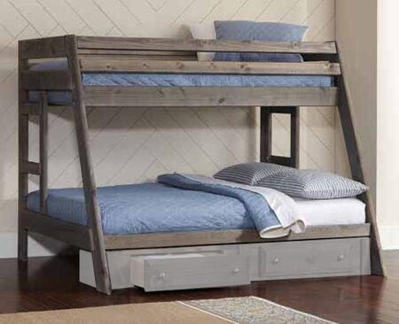 Wrangle Hill Collection 400830 Twin over Full Size Bunk Bed with Full Length Guardrails  Clean Line Design and Solid Pine Wood Construction in Gun