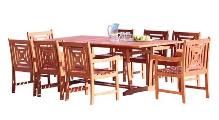 V232SET40 Malibu Outdoor 9-Piece Wood Patio Dining Set With Extension