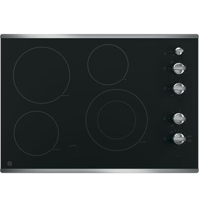 "GE 30"" Built-In Electric Cooktop Stainless Steel-on-Black JP3530SJSS"