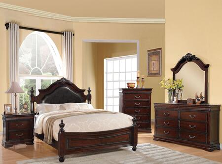 Gwyneth Collection 21874CKSET 5 PC Bedroom Set with California King Size Poster Bed  Dresser  Mirror  Chest and Nightstand in Cherry