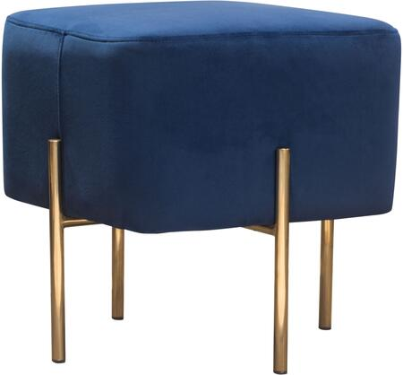 "Zoe_Collection_ZOEOTNV_18""_Accent_Ottoman_with_Plush_Velvet_Upholstery__Stainless_Steel_Legs_and_Padded_Cushioning_in_Navy"