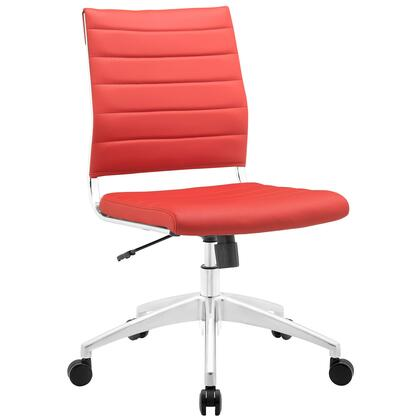 Jive Collection EEI-1525-RED Armless Office Chair with 5-Caster Dual Wheel Base  Mid-Back Chrome-Plated Aluminum Frame  Tilt Lock Tension Control  Adjustable