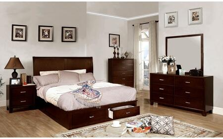 Enrico V Collection CM7807FSBDMCN 5-Piece Bedroom Set with Full Storage Bed  Dresser  Mirror  Chest and Nightstand in Brown Cherry