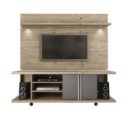 "Carnegie and Park 1.8 Collection 2-1456881461 71"" Floating Wall TV Panel and TV Stand with LED Light Wheels 8 Shelves and 2 Doors in Natue and thumbnail"