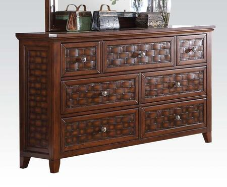 Carmela 24785 64 inch  Dresser with 7 Drawers  Marble Top  Bronze Iron/Metal Knobs  Wood Grid Pattern Drawers and Pine Wood Construction in Walnut