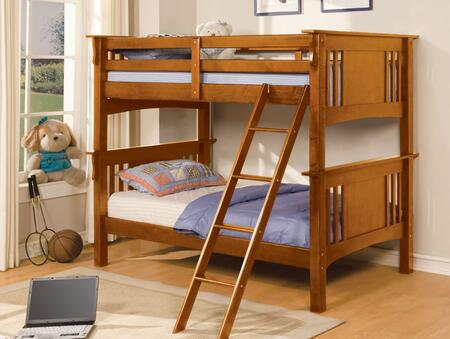 Spring Creek Collection CM-BK602T-OAK-BED Twin Size Bunk Bed with Angled Ladder  10 PC Slats Top/Bottom  Solid Wood and Wood Veneer Construction in Oak