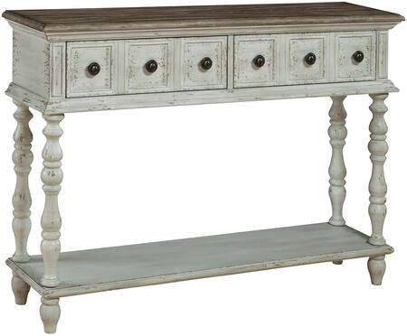 Montauk DS-P050072 Console Table with Wood Drawer Guides  One Lower Stationary Display Shelf and Antique Brass Finished Hardware in Two Toned
