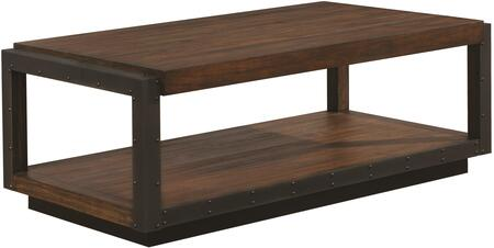 Sawyer Collection 705658 52 inch  Coffee Table with Black Metal Accents  Bottom Shelf and Plinth Base in Vintage Bourbon
