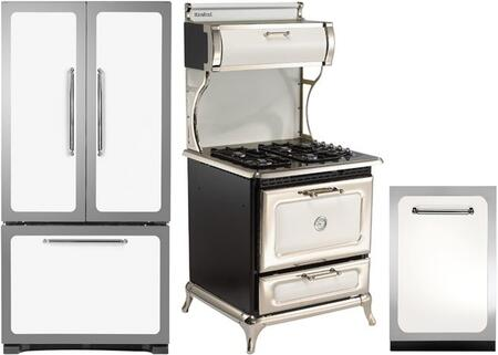 3-Piece White Kitchen Package with HCFDR23WHT 36 inch  French Door Refrigerator  4210CDGWHT 30 inch  Freestanding Dual Fuel Range  and HCDWI1WHT 24 inch  Fully Integrated