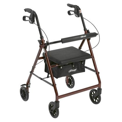 r726rd Walker Rollator With 6 Wheels  Fold Up Removable Back Support And Padded Seat