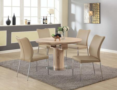NORA-5PC-BGE NORA DINING Nora 5 Piece Set with Round Wooden Dining Table and 4 Beige Curvy Back Side