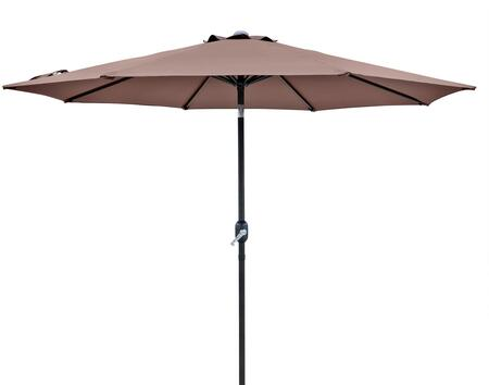 NU5429CF Trinidad 9-ft Octagonal Market Umbrella with Adjustable Crank  Push-to-Tilt Function  1.5 inch  Diameter Pole and Steel Canopy Support System in Coffee