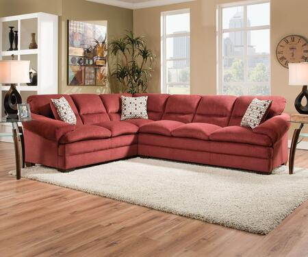 Roselyn 52350 118 inch  Sectional Sofa with Left Arm Facing Sofa Wedge  Right Arm Facing Sofa  Made in USA  Accent Pillows and Fabric Upholstery in Miranda Garnet