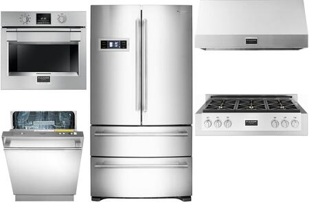 600 Series 5-Piece Stainless Steel Kitchen Package with FM36CDFDS1 36 inch  French Door Refrigerator  F6GRT366S1 36 inch  Gas Range Top  F6DW24SS1 24 inch  Fully Integrated