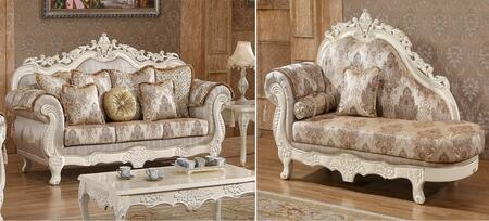 Serena 691S-CH 2 Piece Living Room Set with Sofa and Chaise in Pearl White
