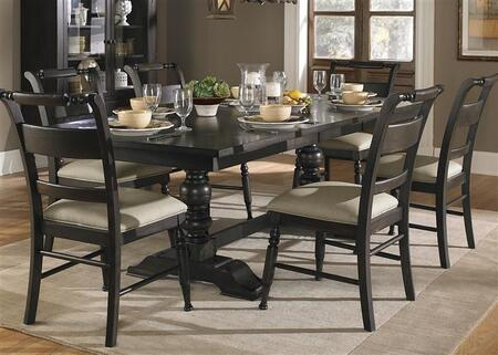 Whitney Collection 661-CD-7TRS 7-Piece Dining Room Set with Trestle Dining Table and 6 Side Chairs in Black Cherry