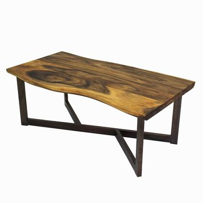 Trembesi Collection 7600025 Rectangular Coffee Table with Black Wood Legs and Trembesi Wood Construction in Natural