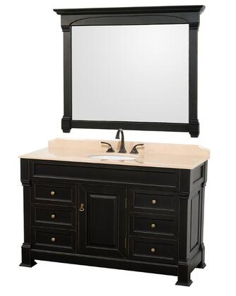 WCVTS55BLIV 55 in. Single Bathroom Vanity in  Antique Black with Ivory Marble Top with White Undermount Sink and 50 in.