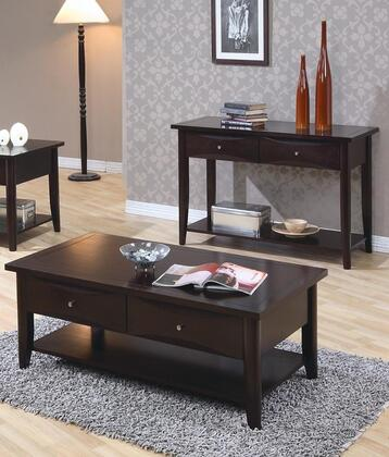 700967 Whitehall End Table + Coffee Table with Shelf  One Drawer  Metal Knob  Smooth Tops and Straight Edges in Cappuccino