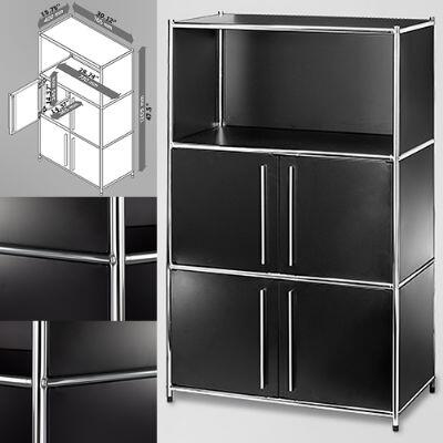814495012451 30 inch  Wide System4-SIMPLI Modular Bookcase with 3 Shelves and Two Double Doors  Steel Construction in Black and Chrome