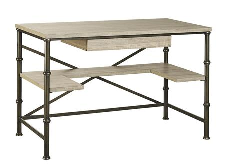 Durham LB-DUR-RWD48 48 inch  Writing Desk with Bottom Shelf  Drawer with Keyboard Tray Function and Steel Legs in Salvage Oak
