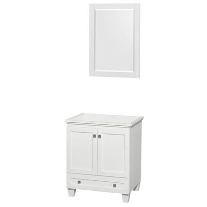 WCV800030SWHCXSXXM24 30 in. Single Bathroom Vanity in White  No Countertop  No Sink  and 24 in.