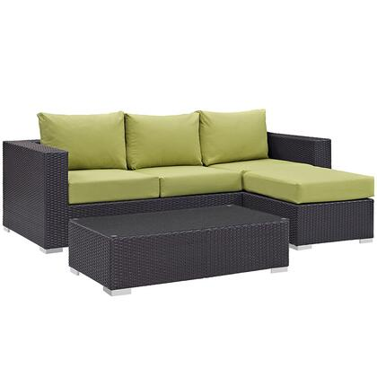 Convene Collection EEI-2178-EXP-PER-SET 3-Piece Outdoor Patio Sofa Set with Coffee Table  Ottoman and Sofa in
