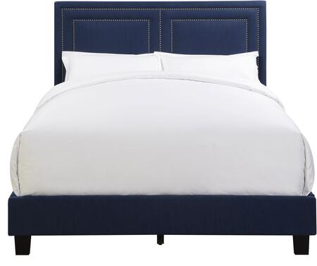 DS-D009-290-511 Queen All-In-One Nail Head Trim Framed Upholstered Bed with Headboard  Footboard and Side Rails in Dupree
