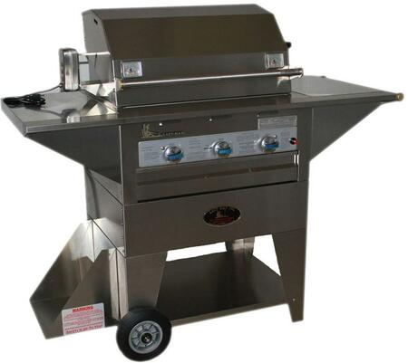 LM210-28MN Masterpiece Series Natural Gas Mobile Grill with 36 000 BTU  3 Durite Stainless Steel Burners  8