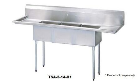 TSA-3-14-D1 Drain Board 90 inch W Three Compartment Sink with Swirl Away Bowl Drainage  Two Drain Boards and Adjustable ABS Bullet Feet in Stainless