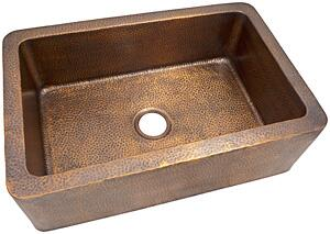 CF165AN Solid Hand Hammered Copper 32 inch  X 21 inch  Large Single Bowl Farmhouse Sink in Antique Copper