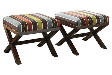 2530113 Ballari Accent Ottomans with Striped Fabric Upholstery  Piped Stitching and Plush Cushioning in Garden 658282