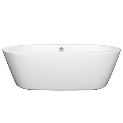 WCOBT100371BNTRIM 71 in. Center Drain Soaking Tub in White with Brushed Nickel