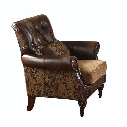 Dreena 05497 40 Living Room Chair With Throw Pillow  Loose Seat Cushion  Button Tufted Back  Chenille And Pu Leather Upholstery In Brown