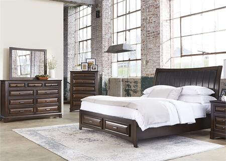 Knollwood Collection 258-br-qsbdmc 4-piece Bedroom Set With Queen Storage Bed  Dresser  Mirror And Chest In Dark Cognac