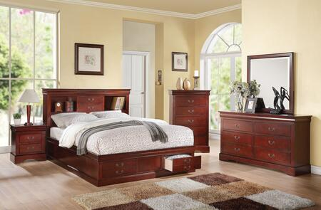 Louis Philippe III 24377EK5PC Bedroom Set with  Eastern King Size Bed + Dresser + Mirror + Chest + Nightstand in Cherry