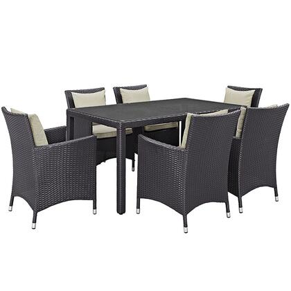 Convene Collection Eei-2241-exp-bei-set 7 Pc Outdoor Patio Dining Set With Powder Coated Aluminum Frame  All-weather Fabric Cushions And Synthetic Rattan Weave