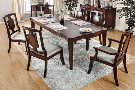 Stevensville Collection CM3875T4SC2AC 7-Piece Dining Room Set with Rectangular Table  4 Side Chairs and 2 Arm Chairs in Brown