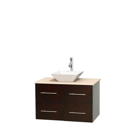 Wcvw00936sesivd2wmxx 36 In. Single Bathroom Vanity In Espresso  Ivory Marble Countertop  Pyra White Porcelain Sink  And No