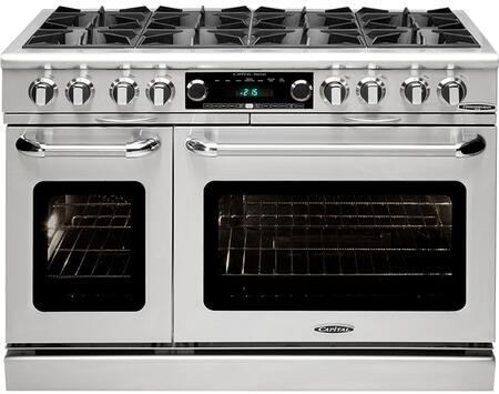 Capital Connoisseurian Series COB488 48 Inch Pro-Style Dual Fuel Range with 8 25,000 BTU Open Burners, 5.4 cu. ft. Main Oven, Dual Kitchen Timers, Motorized Rotisserie and Moist Bake Option COB488